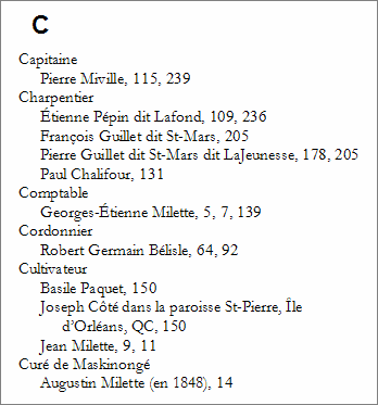 Index des professions