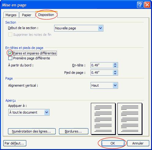 Onglet disposition de la fenêtre de mise en page de Word